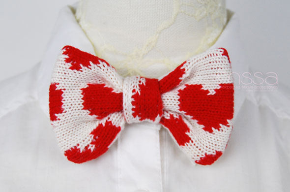 Knitted Bow Tie In Heart Pattern On Luulla