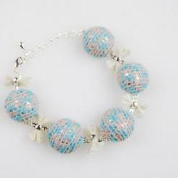 Knit fabric covered bracelet